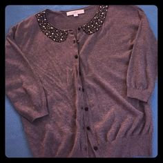 Embellished Collar Cardigan Amazing dark grey cardigan with an embellished Peter Pan collar pattern. No stones/gems missing. All buttons still attached. Only worn once or twice! LOFT Sweaters Cardigans