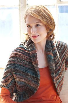 Sequoia Shrug Thinking about making this. Oddly enough, I made a poncho out of this yarn color and style. I am going to make this using off white with a gold metallic thread running through it (but will need a couple more skeins of it).