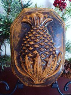 Primitive 1800's Highly Embossed Pineapple Blackened Beeswax Folk Art Wall Art | eBay