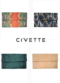 ... ausgefallene und edle Python·Clutch von Cívette Clutch, Python, Bags, Fashion, Fashion Women, Handbags, Moda, Fashion Styles, Fashion Illustrations