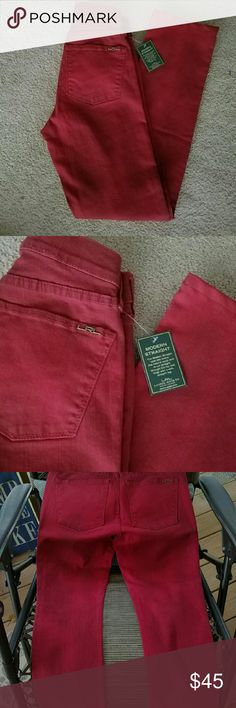 Lauren Ralph lauren jeans Deep red LRL green label Jeans. New w/tags. For some wierd reason I cant seem to find a sz in these anywhere. I know my mom bought them cause i was with her.sz4Petite i believe. Im modeling & im a sz 6. I barely got these boogers on.lol theyre skin tight. Theyre a blood red with darker rustic look (darker color spots throughout) it is subtle so i had to darken 3rd pic to get it to show Inseam 29 Waist layin flat/across is approx 14in Gold tone hardware Bundle for…