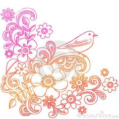 Flowers and Bird Sketchy Notebook Doodles by Blue67, via Dreamstime