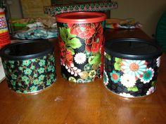 Decoupaged mixed nuts tins