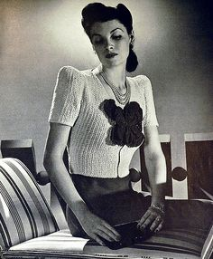 1940s knitting pattern for flower sweater | by wondertrading