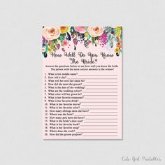 Floral Bridal Shower How Well Do You Know the Bride To Be Game -How Well Do You Know The Bride Printable Game -Who Knows The Bride Best0001P