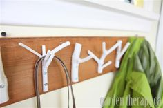 Weekend Project:  Coat rack made with branches