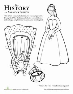 Second Grade Paper Dolls History Worksheets: Colonial Paper Doll: Girl