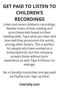 Get Paid To Listen To Children's Recordings - Wisdom Lives Here Ways To Earn Money, Earn Money From Home, Earn Money Online, Money Saving Tips, Way To Make Money, Legit Work From Home, Work From Home Jobs, Online Jobs From Home, Work From Home Opportunities