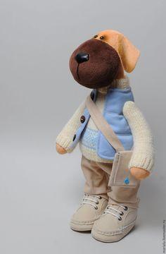 Купить Бурбуль. Текстильная собака. - бежевый, голубой, молочный, рыжий, собака, плюшевая игрушка