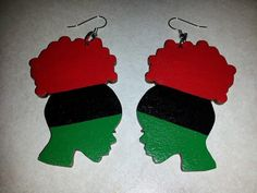 FREE SHIPPING. Absolutely FLY, FABULOUS and DOPE red, black and green hand painted earrings of a woman with an Afro puff. The back is painted