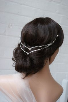 Bohemian Downton Abbey Style Art Deco Silver Bridal Wedding Headpiece -Jewelry Gift for Woman or Bridamaid