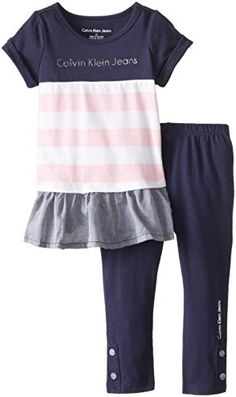 Calvin Klein Little Girls' Navy Pink Tunic Legging Set