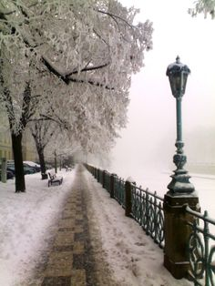 Winter embankment in Hradec Králové, Czechia Prague Czech Republic, Amazing Places, The Good Place, Castle, City, Winter, Travel, Outdoor, Beautiful