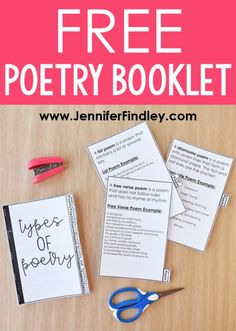 FREE Poetry Booklet! Check out these poetry activities for upper elementary that your students will love! This post includes a FREE poetry types booklet and a FREE poetry terms Bingo board! Free Verse Poems, Free Poems, Teaching Poetry, Teaching Writing, Teaching Ideas, Teaching English, English Teachers, Teaching Activities, English Class