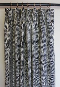Fan Pleated Drapes in Quadrille Alan Campbell -Petite Zig Zag in Navy on Tint -Custom Made by Lynn Chalk