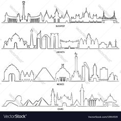 Travel and tourism line vector illustration. Mexico, Budapest, Jakarta and Cairo. Download a Free Preview or High Quality Adobe Illustrator Ai, EPS, PDF and High Resolution JPEG versions.