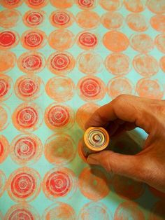 """Orange Circles"" fabric, second printed layer by Julie B Booth: I printed with a battery! One of the pre-order giveaway fabrics for my upcoming book, Fabric Printing at Home. For more info about the giveaway: http://www.threadbornblog.com/2014/10/fabric-printing-at-home-pre-order.html"