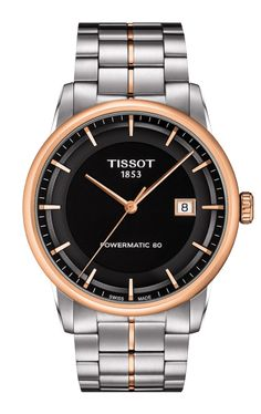 Tissot Luxury Gent Black Dial Date Feature Index Stainless Steel Case Deployant Buckle Black Pattern Leather Strap Mens Automatic Watch Luxury Watches, Rolex Watches, Cool Watches, Watches For Men, Casual Watches, Wrist Watches, Swiss Army Watches, Audemars Piguet, Automatic Watch