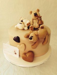 Sweet little teddies for a baby shower ! - Cake by Missyclairescakes