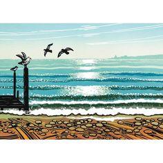 'Sea Shimmer' by Printmaker Rob Barnes.  Blank Art Cards By Green Pebble. www.greenpebble.co.uk