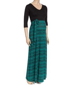 This Black & Green Geometric Maternity Maxi Dress is perfect!