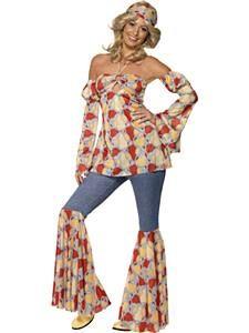 Smiffys Womens Vintage Hippie Costume Halter neck Top Sleeves Flares and Headband 70 Disco Serious Fun Size 1416 39434 Hippie Style, Mode Hippie, Hippie Look, Hippie Chick, 1970s Fancy Dress, Ladies Fancy Dress, Fancy Dress Outfits, 70s Fancy Dress Ideas, Rave Outfits