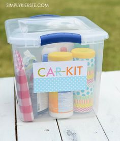 Bugs, sun, scrapes, messes, mud...a summer car kit will help will all of these things and more when you're on the road! Perfect for families...and everyone!