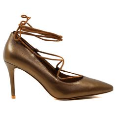 BALMY by Top End. Cool as ice! This sensual leather heel adds a dash of glamour to any look. For a flattering combination, pair it with a simple white blouse, a full skirt and delicate accessories. 10cm heel. Leather upper, leather lining. Manmade sole.