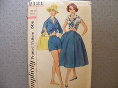 Simplicity vintage sewing pattern 2121 for misses' size 14 short, top and wrap-around skirt. on Etsy, $22.00