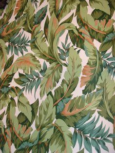 Vintage Banana Leaf Wallpaper 3 Rolls Un-used Vinyl by studio180 SOLD Hollywood Palm Beach Regency