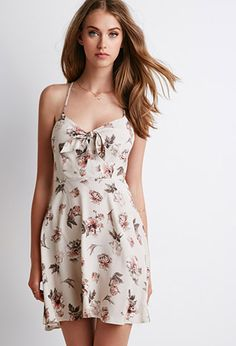Floral Print Cutout Dress | Forever 21 - 2000053335 The sweetheart neckline and bow detail distracts and adds volume to a smaller bust line.