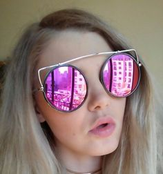 ~FREE SHIPPING~  Victory 2017 New Fashion Cat Eye Oversized Styled Mirror Frame Sunglasses.   Style: Cat Eye Trend Trendy Shades Colorful Lens Color Gold, Hot Pink, Silver, Purple, Clear, Blue, Grey, Black     https://pinkpartyproject.myshopify.com/products/big-victory-sunglasses