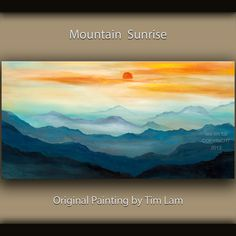 Original art Abstract Painting large Oil Painting, blue mountain skyline Landscape Painting Rising Sun by tim lam 48x24x1.3