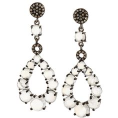 Bavna Silver Moonstone & Diamond Pave Multi-Drop Earrings ($540) ❤ liked on Polyvore featuring jewelry, earrings, silver, moonstone earrings, drop earrings, silver jewellery, teardrop earrings and moonstone jewelry
