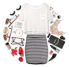 """""""This life is sweeter than fiction"""" by howtobehipsterish ❤ liked on Polyvore featuring H&M, Forever 21, Chanel, NARS Cosmetics, Herbivore Botanicals, MANGO, MAKE UP FOR EVER, Benefit, Monki and Accessorize"""