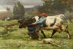 Julien Dupré (French, In Pasture, Oil on canvas, Collection of the Mildred Lane Kemper Art Museum. Cow Art, Art Painting, French Art, Western Art, Barbizon School, Painting, Oil Painting, Art, Country Art