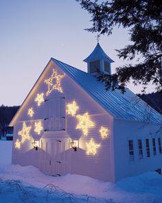Beautiful star lights on a barn