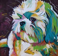 Shih Tzu, Pop Art, Dog Art, Gifts, Painting, Portrait, Dog Lovers, Modern Dog…