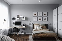 Спальня, скандинавский стиль, икея, серый цвет, сканди, bedroom,  Skandia,  grey colors