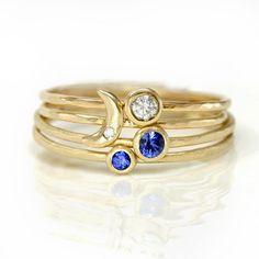 Midnight Moon Anéis // Lua crescente, safira, diamante Empilhando anéis // conjunto de quatro sólidos 14k Anéis de ouro com safiras azuis e diamantes