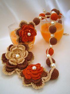 Necklace crochet  jewellry textile jewelry by ElenaCrochetShop, $30.00