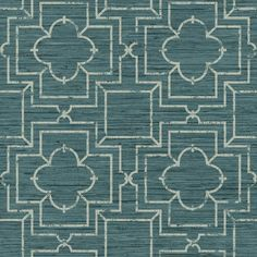 The marriage of two disparate elements works beautifully on this Asian influenced wallpaper. The background is a beautiful faux grass cloth in variegated shades of a given color. A geometric pattern s
