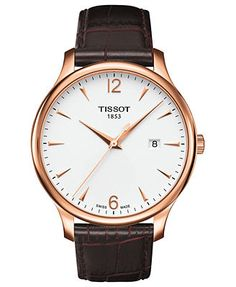Tissot Watch, Men's Swiss Automatic Tradition Brown Leather Strap 42mm T0636103603700