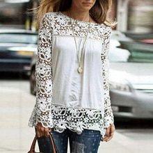 db621d4c795 Осень Для женщин вязаный крючком кружевная блузка рубашка женская  Повседневное Твердые шею длинным рукавом шифон футболки