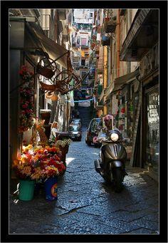 The street in quarter Spagnoli in Napoli - Italy