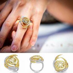 Greater Bird of Papua ring by @vaneyckjewelry #vaneyckjewelry 86 Fancy Yellow Diamonds, totalling 0.51ct 157 White Diamonds, totalling 1.09ct 1 Pink Sapphire totalling 0.003ct Center Diamond: CU 3.69ct Fancy Brownish Yellow