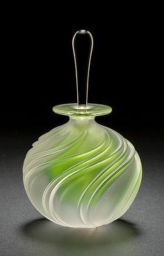 """Apple Green Swirl Perfume""  Art Glass Perfume Bottle    Created by Mary Angus"