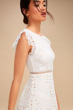 bd1c5eaf870 Ariane White Lace Skater Dress 3 Lace Overlay Dress