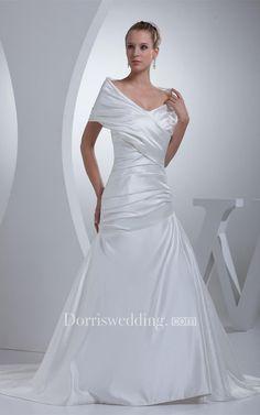 #Valentines #AdoreWe #Dorris Wedding - #Dorris Wedding V-Neck Satin A-Line Ruched Court Train and Gown With Wrap Design - AdoreWe.com