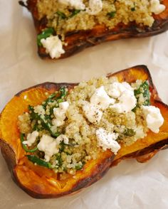 Butternut stuffed with spinach and goat quinoa - How I changed my life - Hop, today it& a savory recipe that is in the spotlight: a butternut stuffed with spinach and - Quinoa Lunch Recipes, Vegan Breakfast Recipes, Good Healthy Recipes, Easy Chicken Recipes, Healthy Dinner Recipes, Beef Recipes, Keto Foods, Plat Vegan, Quick Easy Meals